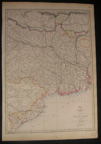 India Bengal Bhutan Nepal c.1863 scarce old vintage antique map