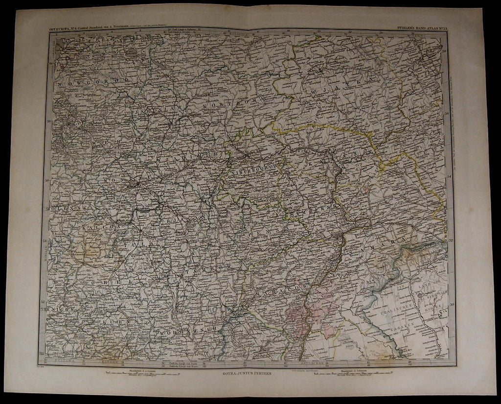 Central Russia Moscow Nowgorod Samara Kursk Tambow 1885 fine old detailed map