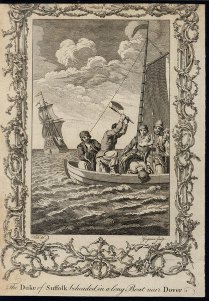 Duke of Suffolk Beheaded at Sea Dover Coast c.1790 antique engraved print