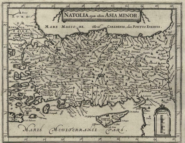 Ottoman Anatolia Turkey Natolia 1661 Jansson miniature map