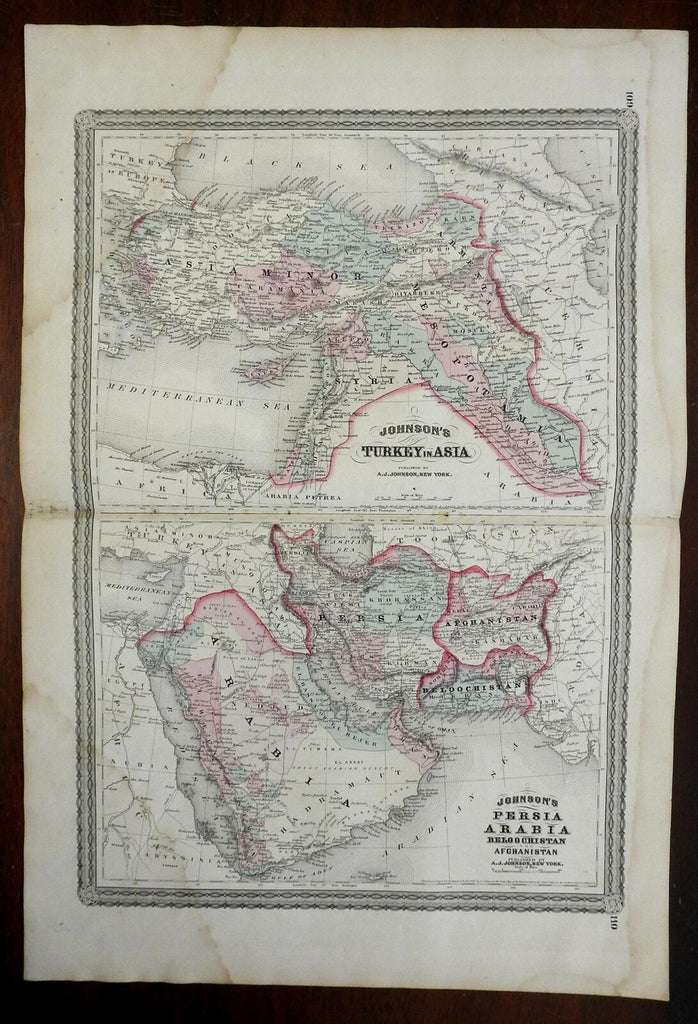 Arabia Ottoman Empire Turkey Syria Middle East Persia 1866-79 A.J. Johnson map