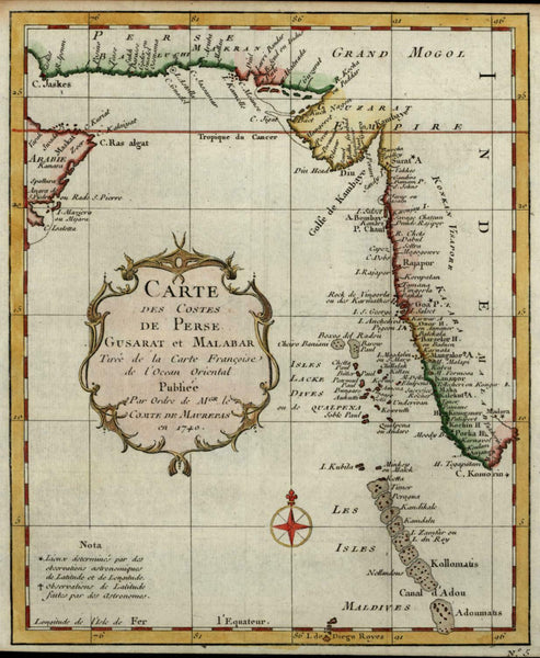 Indian Ocean Persian Gulf Mughal Empire Gusarat Malabar Maldives 1740 Bellin map