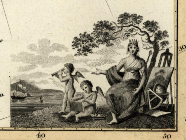 Europe decorative goddess Queen & cherubs c.1821 Wyld Thomson old Hewitt map