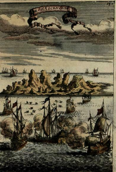Africa Ascension Island Atlantic 1683 Mallet miniature view print tall ships