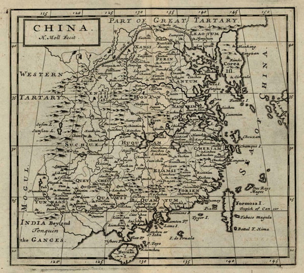 China Korea as an island c. 1715 Herman Moll engraved map