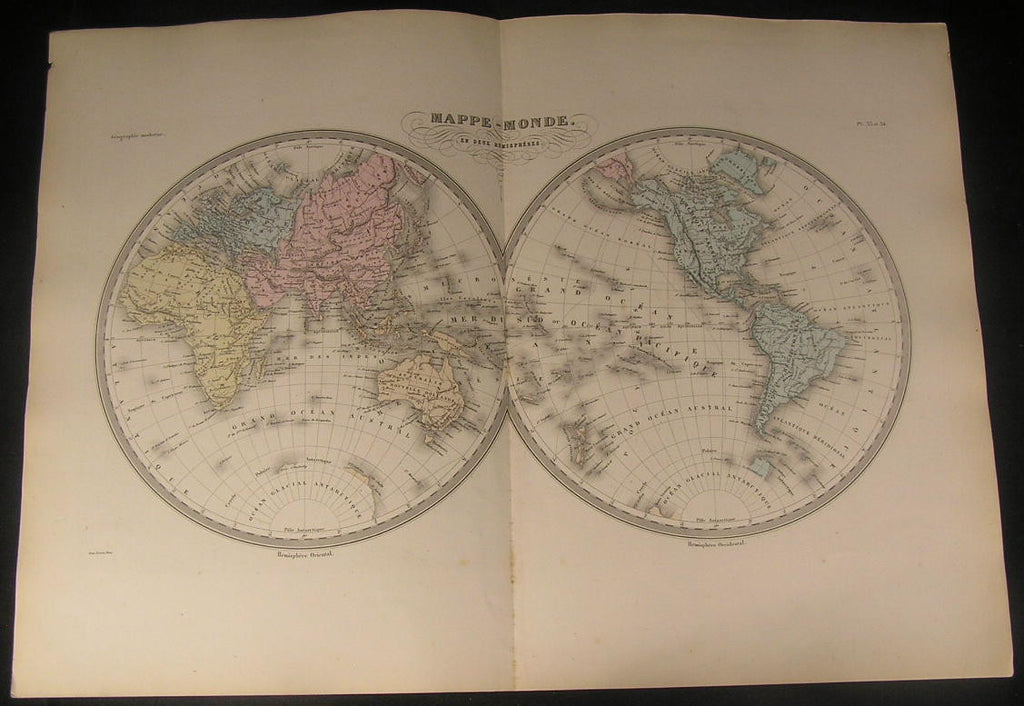World Two Hemispheres Hawaii Korea Australia c.1870 antique engraved color map