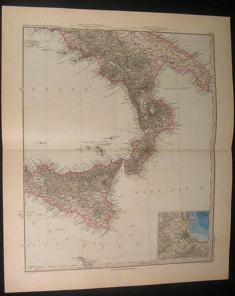South Italy Sicily Naples Gulf Strait of Messina 1899 antique engraved color map