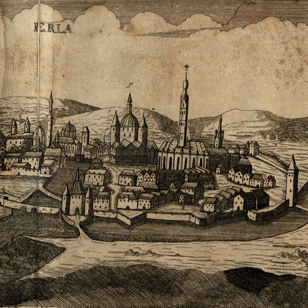 Erla Urla Turkey c.1688 Koppmayer rare birds-eye city view print