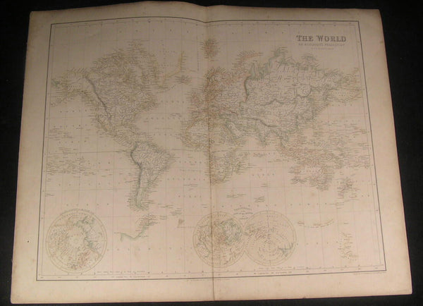 World map c. 1862 by Swanston & Fullarton fine folio sheet antique old color map