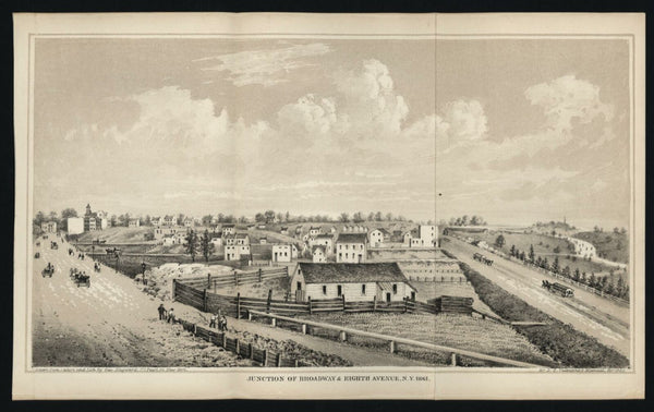 New York City birds-eye Broadway & 8th Ave. view 1862 Hayward lithographed print
