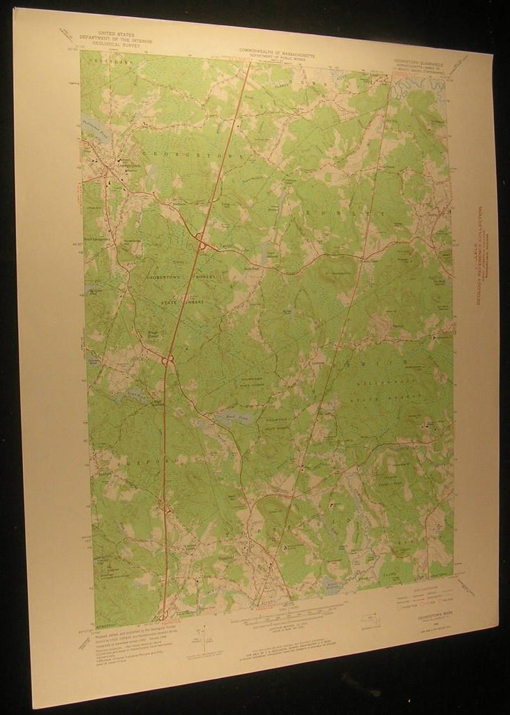 Georgetown Massachusetts Vineyard Hill 1968 antique color lithograph map