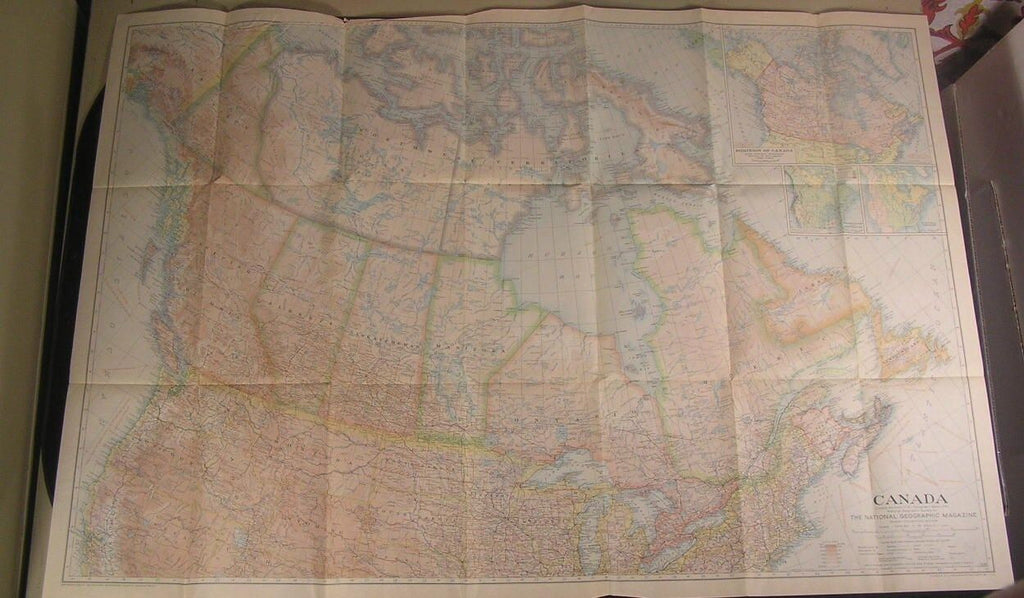 Canada Quebec British Columbia 1936 vintage color lithograph map