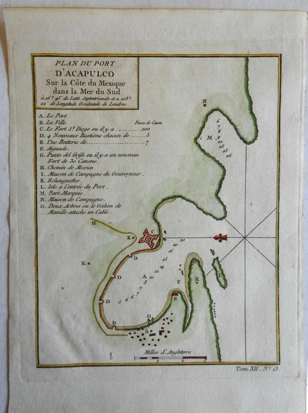 Port of Acapulco Coast harbor Chart City Plan Mexico New Spain 1754 Bellin map