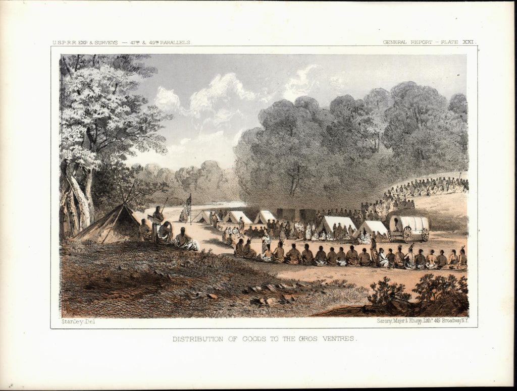 Camp Tents Wagon Indians Gros Ventres nice c. 1855 original antique view print