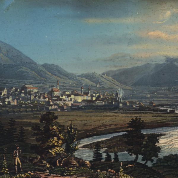 Austria Innsbruck panoramic city view c.1830-40 gorgeous print old hand color