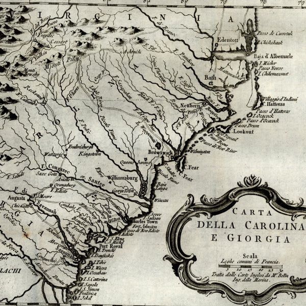 1784 Carolinas Georgia Virginia old map Appalachian Mountains rare Bellin Italia