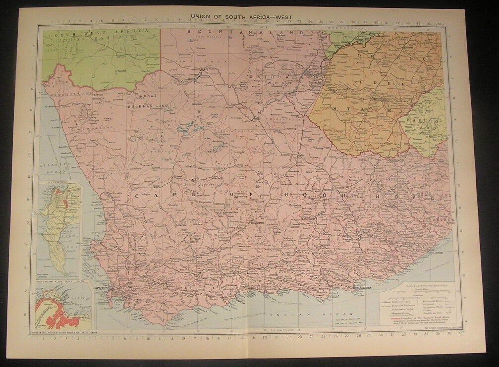 Union of South Africa West Cape Good Hope c.1922 vintage detailed color map
