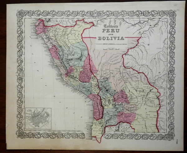 Colton's Peru & Bolivia Lima La Paz Andes Mountains 1855 Johnson & Browning map