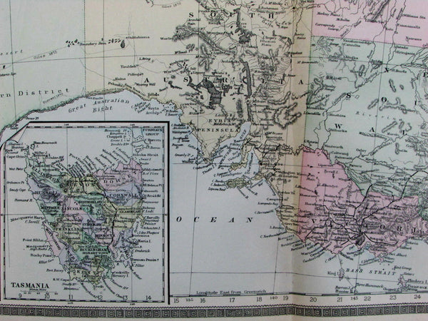 Australia Tasmania New Zealand explorer routes Torrens 1889 Bradley fine old map