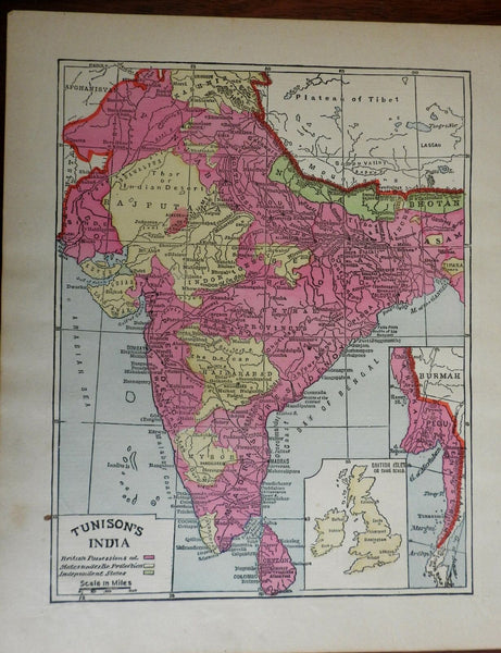 India British Possessions & protection 1892 Asia Bay of Bengal Map British Isles