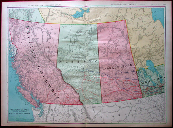 Western Canada Provinces BC AB SK MB 1907 huge detailed Rand McNally map
