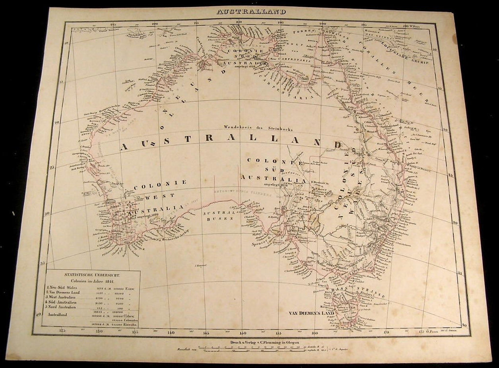 Australia New South Wales New Holland Torrens hook 1855 Flemming old antique map