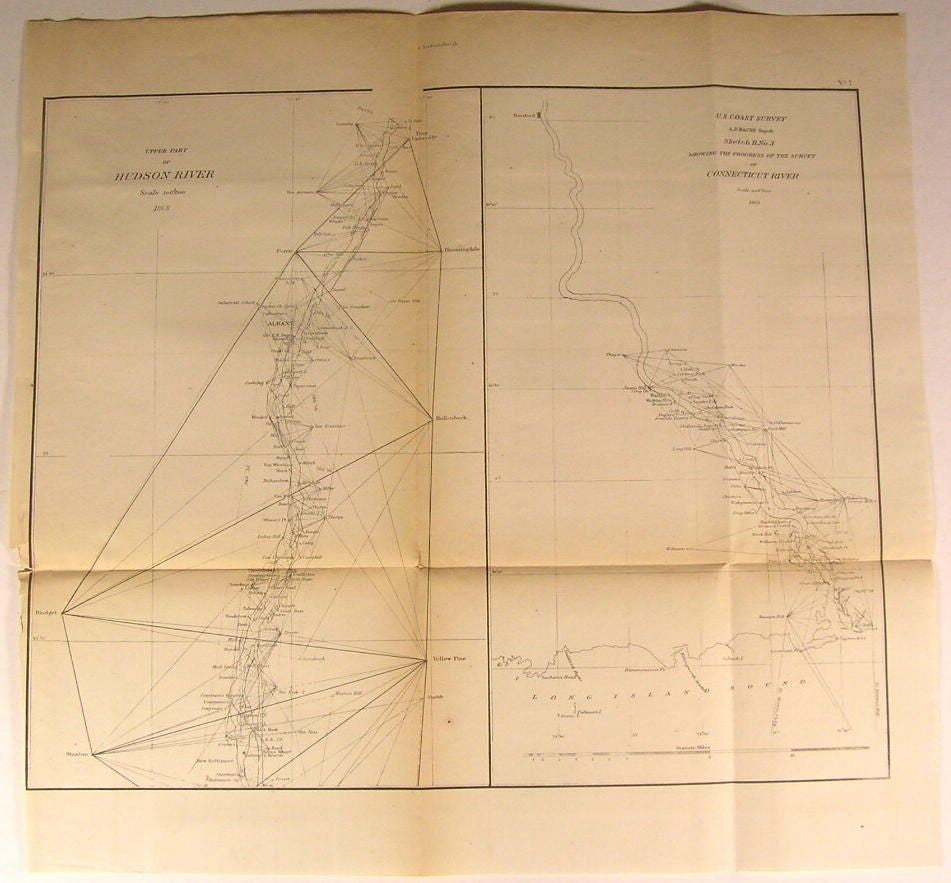 Hudson Connecticut River Long Island Sound 1868 U.S.C.S. old nautical chart