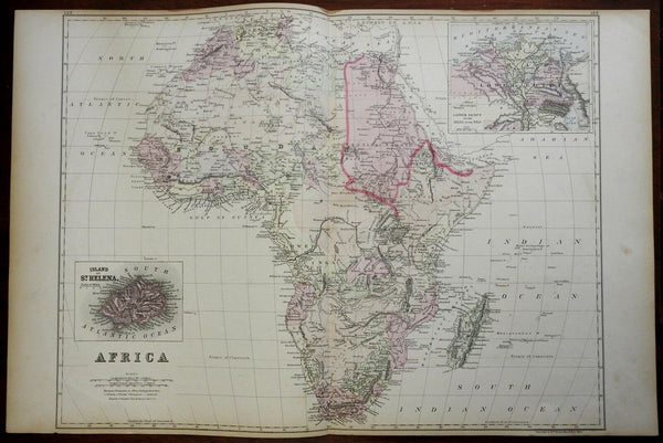 Africa Continent Mountains of Kong Nile Delta St. Helena 1884 Bradley map