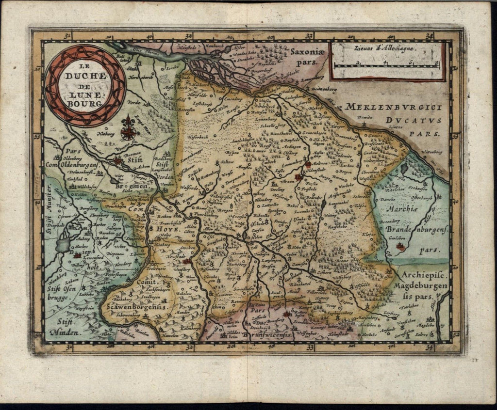 Duchy of Lunenburg Germany 1700 rare old vintage antique map