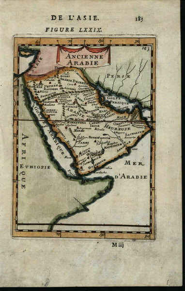 Arabie Arabian peninsula 1683 antique engraved hand color map