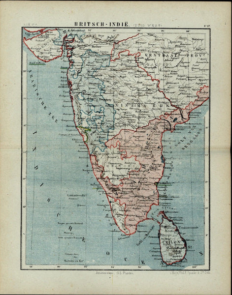 British India Sri Lanka Ceylon Mysore antique 1882 detailed Spanier Dutch map