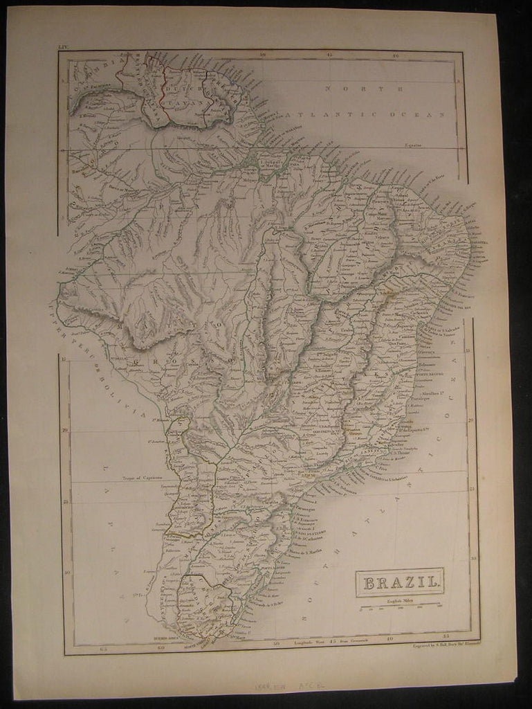 Brazil Guyana Paraguay Amazon R. South America 1844 antique engraved color map