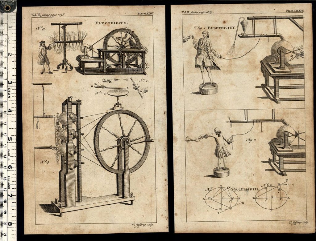 Electricity generating 1754 Thomas Jefferys pair of engraved prints
