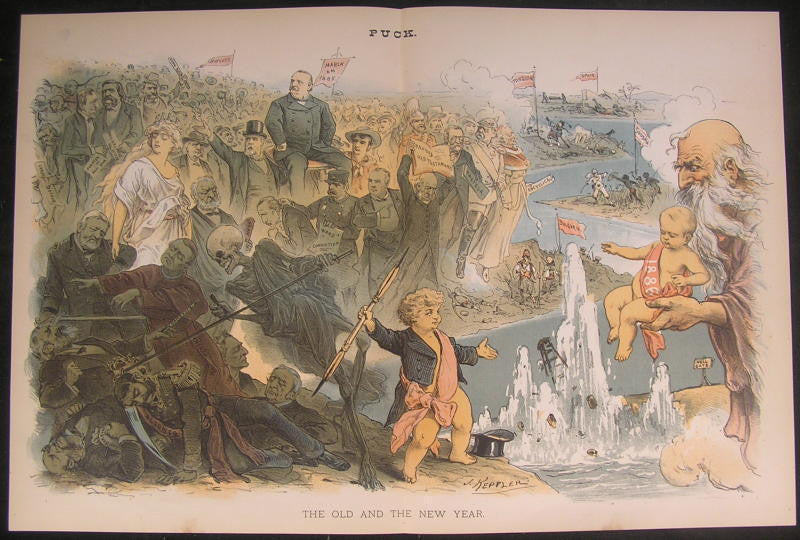 Hopeful Prosperous New Year Death Nobility 1885 antique color lithograph print