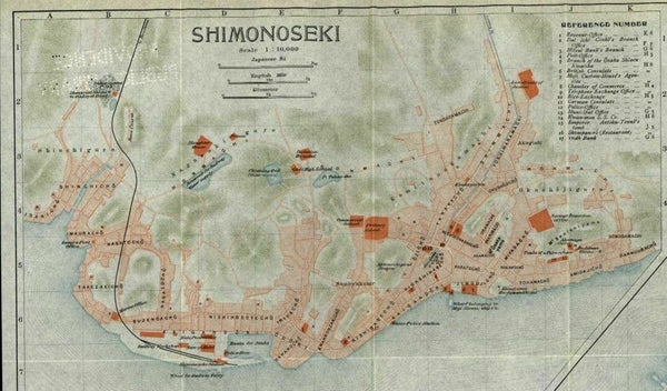 Shimonoseki Moji Japan hotels police hospitals banks etc. 1914 color litho map