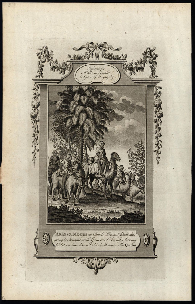 Arabs Moors camels Arabia Senegal north Africa 1778 old engraved ethnic print