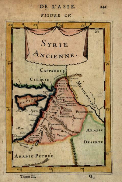 Ancient Syria Cyprus Holy Land Mesopotamia Cappadocia 1683 Mallet miniature map