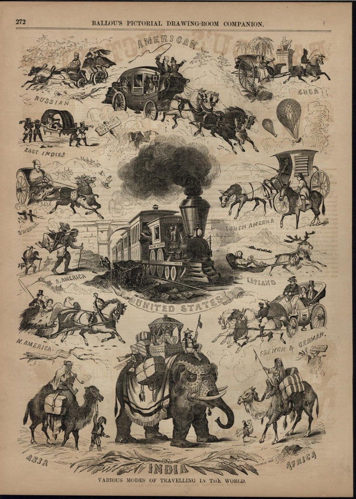 Mode of Transport Elephant Locomotive Camel Reindeer 1855 antique engraved print