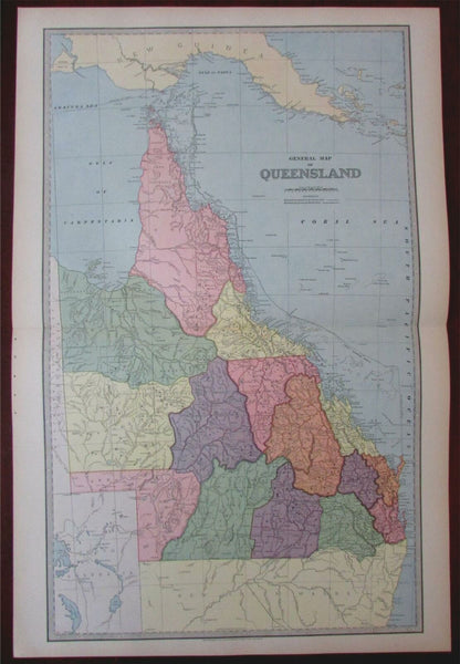 Queensland Australia Great Barrier 1888 large detailed map issued in Australia
