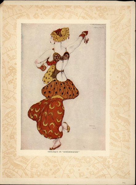 Bakst Odalisque in Scheherazade 1001 Nights Metropolitan Ballet Co 1916 print