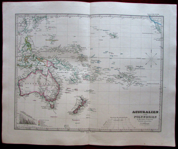 Australia 1862 New Zealand Oceania Stulpnagel Stieler map