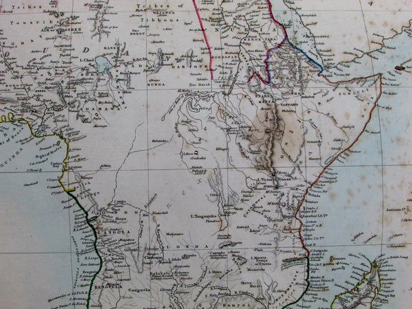 "Africa continent ""Unexplored"" lands Congo Egypt Nubia c.1860 SDUK scarce old map"
