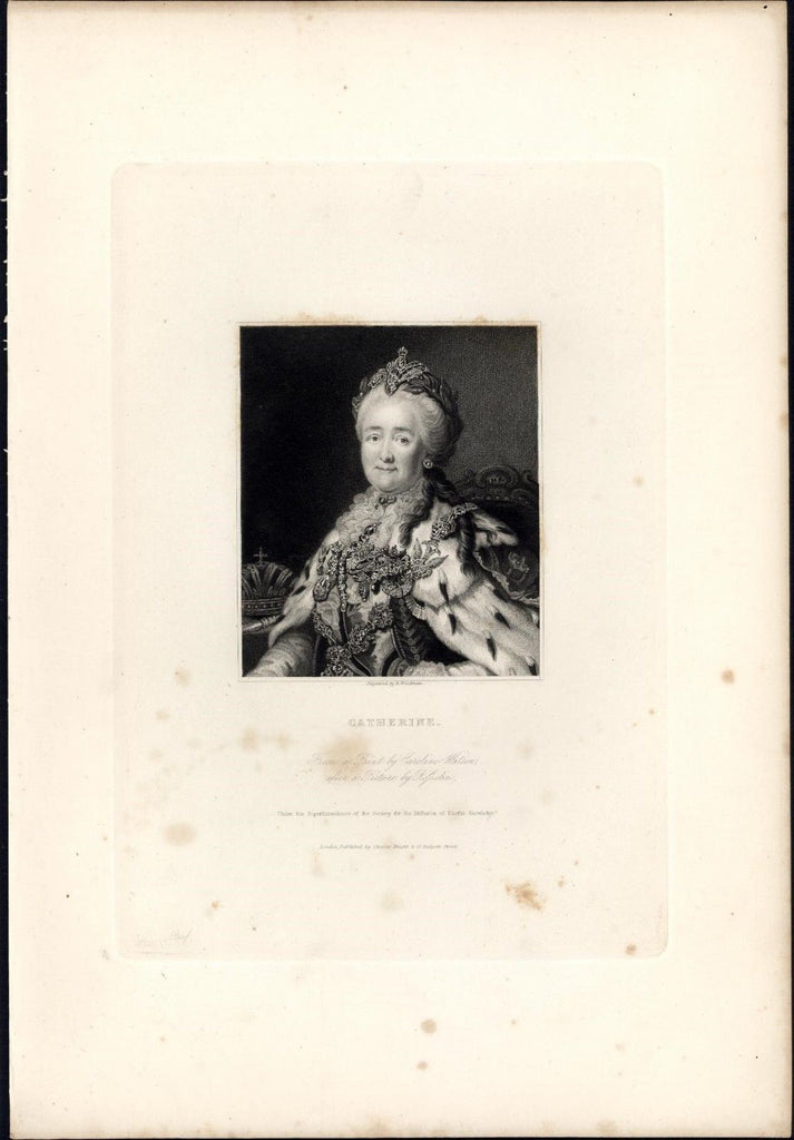 Catherine II the Great of Russia 1834 rare engraved portrait print India proof