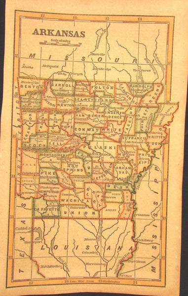 Arkansas state 1853 scarce Phelps cerographic antique map hand colored nice