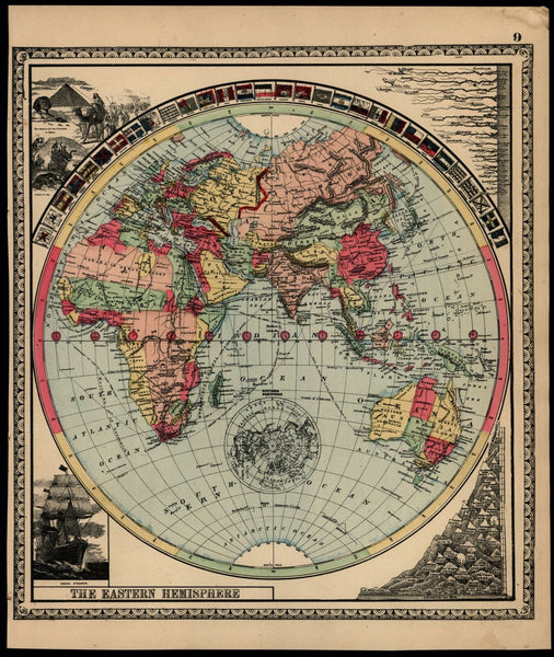 World Sphere Asia Africa Australia India c.1888 map flags compare mts. rivers