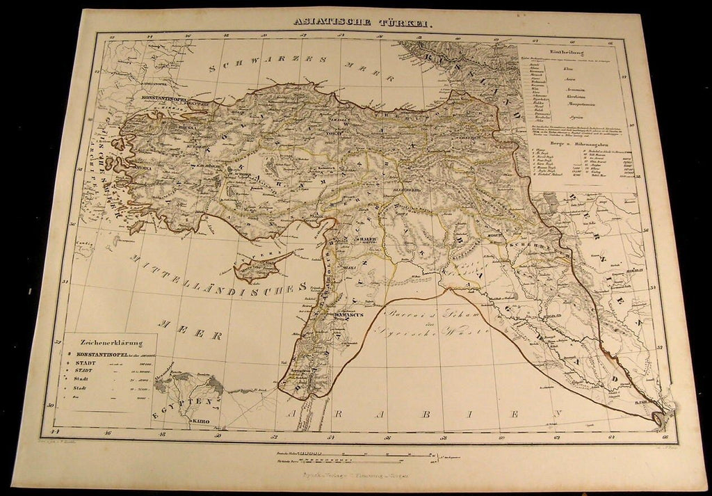 Asiatic Turkey Constantinople Damascus Bagdad 1855 Flemming old antique map