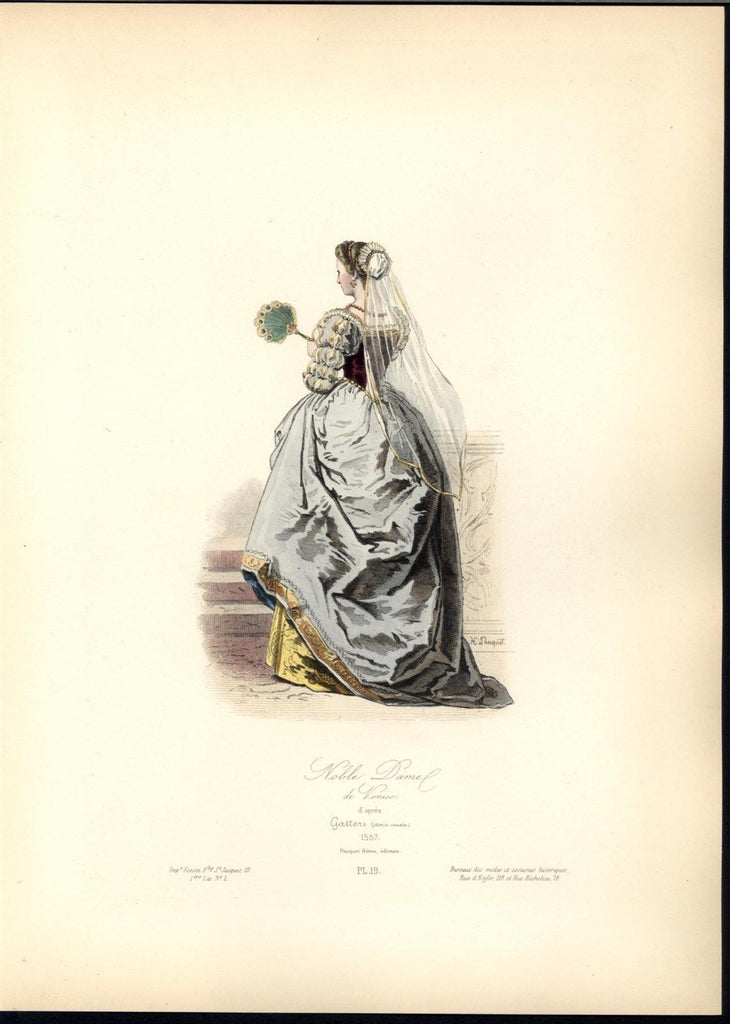 Venetian Noblewoman White Veil Jewels c.1870 antique hand color costume print