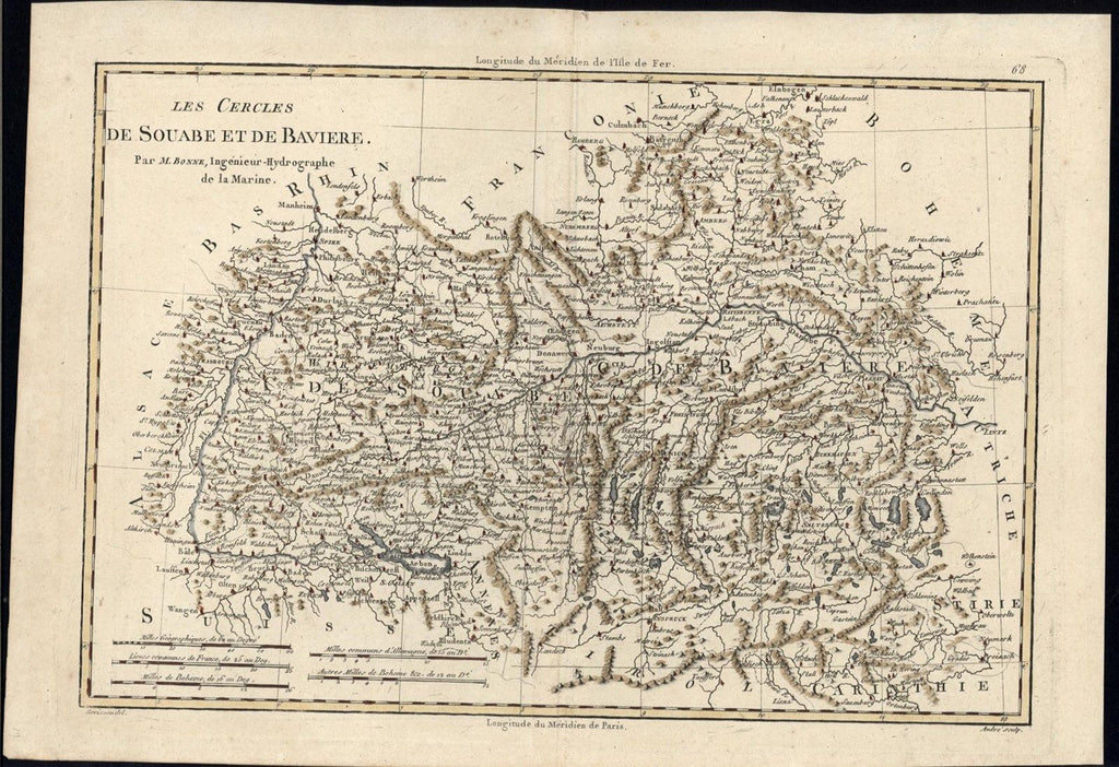 Swabia Bavaria South Germany Rhine River 1780 Bonne fine antique hand color map