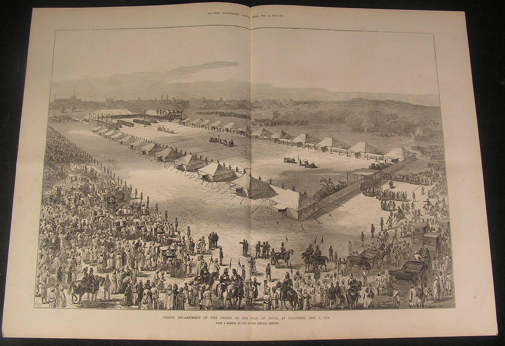 Grand Encampment Order of the Star of India 1876 antique wood engraved print