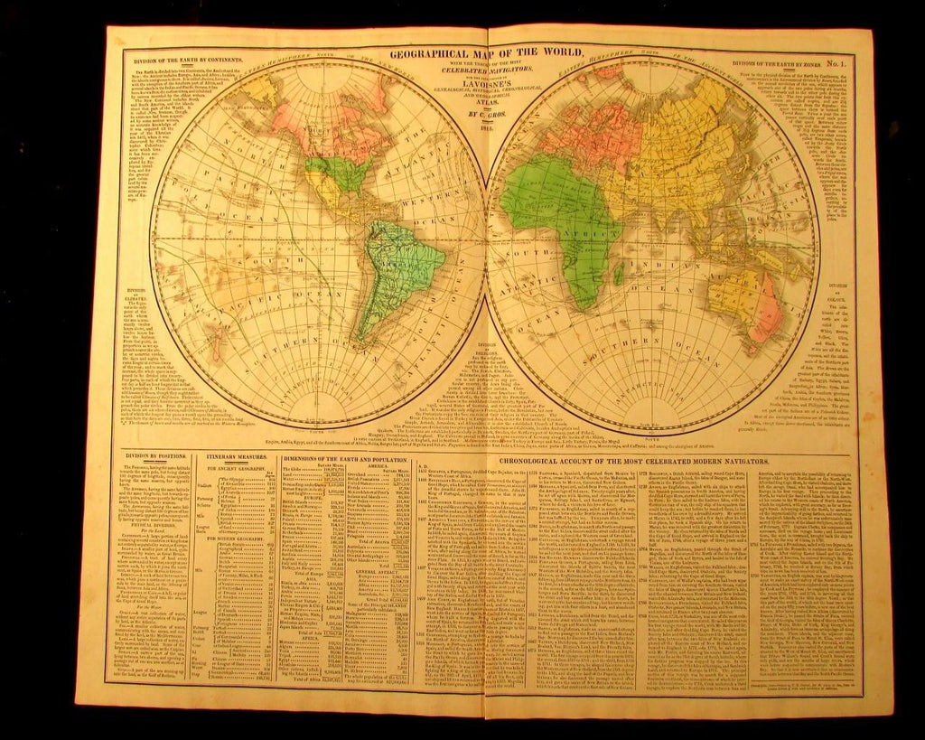 World in spheres w/ navigators tracks 1820 M. Carey large antique map